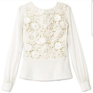 Tory Burch Isabelle Guipure Lace White Blouse